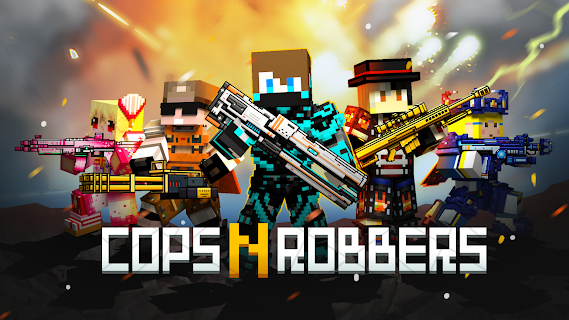 Screenshot 1: Cops N Robbers - 3D Pixel Craft Gun Shooting Games